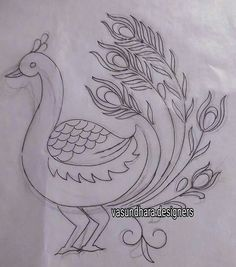Saree Painting Designs, Mehndi Art Designs, Painting Patterns, Fabric Painting, Zardozi Embroidery, Hand Embroidery Dress, Hand Embroidery Patterns, Embroidery Stitches, Peacock Embroidery Designs