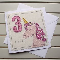 Your place to buy and sell all things handmade Freehand Machine Embroidery, Free Motion Embroidery, Machine Embroidery Patterns, Special Birthday Cards, Handmade Birthday Cards, Lego Card, Girls 3rd Birthday, Growth Charts, Fabric Cards