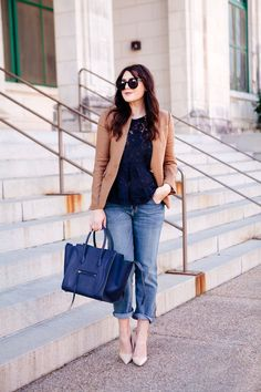 Kendi Everyday: Brand New Bag Lace Top Outfits, Blazer Outfits, Elle Fashion, Fashion Outfits, Womens Fashion, Blazer Fashion, Celine, Blazers, Black Lace Tops
