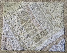 Vintage & Antique Lace Collage, No. 12 ... Embellishment for crazy quilting, heirloom sewing, fabric art, journals, assemblage, multi media