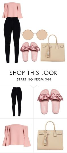 """Untitled #37"" by allisonjohnson408 on Polyvore featuring Puma, Topshop, Yves Saint Laurent and Linda Farrow"