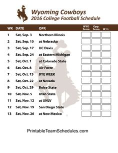 Wyoming Cowboys  2016 College Football Schedule Print Here - http://printableteamschedules.com/collegefootball/wyomingcowboys.php