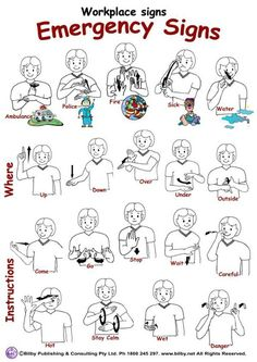 """Work Place Sign (Emergency Signs) - WHAT SIGN LANGUAGE IS THIS? If you know please comment (Pinner had listed """"ASL emergency signs"""" but that is clearly not correct. I'd love to know what language this is). Sign Language Chart, Sign Language For Kids, Sign Language Phrases, Sign Language Alphabet, British Sign Language, Learn Sign Language, Australian Sign Language, Thank You Sign Language, English Sign Language"""