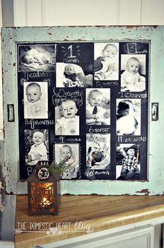 DIY #Chalkboard 1st Birthday Photo Display