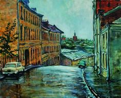 В.Качанов  Печатников переулок. Вид на Высоко-Петровский монастырь.1980.
