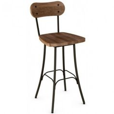Commercial quality metal restaurant furniture Bean swivel barstool with wood seat and back. Available to order today at ContractFurniture.com}