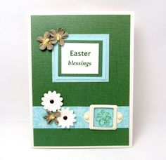 Easter Card  Easter Blessings  Green and by PrettyByrdDesigns