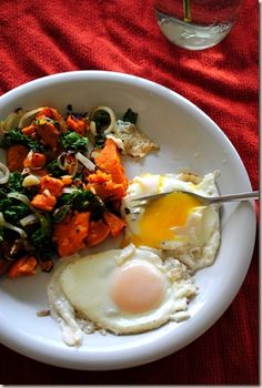 Perfect Eggs and Kale Sweet Potato Hash