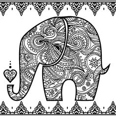 Elephant Zendoodle colouring page | Coloring Book for Me App