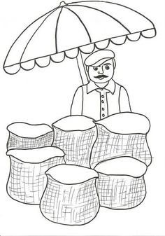 greengrocer-coloring-pages-for-kids « Preschool and Homeschool Art Drawings For Kids, Easy Drawings, Art For Kids, Crafts For Kids, Art N Craft, Autumn Art, Colouring Pages, Preschool Crafts, Fall Crafts