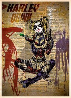 Harley Quinn splatter art, Harley Quinn pinup, Retro Super Hero Art, D – Loft 817
