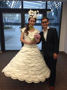 """Papiere de Couture"" our very own paper dress. Made from paper plates, used paper and tissue."