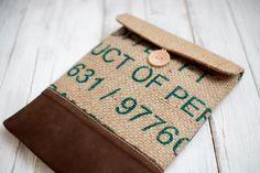 Coffee sack and leather iPad sleeve / case / bag for iPad 1 2 3 4