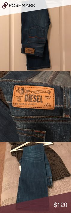 Just In 🥁🆕Diesel Bootzie Jeans 27WL30 Brand new never worn Diesel jeans in Bootzie style a slight flare for boots, white wash to front of thighs, 5 pocket jeans with Diesel emblem & logos & genuine content label with the silver authenticity line these were specially ordered from Miami Diesel store 3pair -wore only 2 kept this one for collection Diesel Jeans Boot Cut