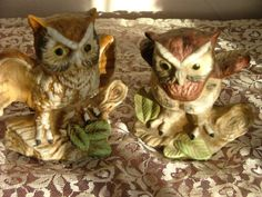 Ceramic Owl Statues by vintagemarbles on Etsy, $12.00