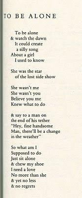 TO BE ALONE / Jim Morrison