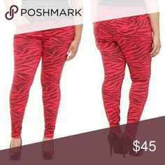 Torrid Red and Black Zebra Skinny Jeans Worn once. Comfortable and Stylish! torrid Pants Skinny