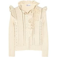 RED Valentino Cotton-blend knitted cardigan (15.245 RUB) ❤ liked on Polyvore featuring tops, cardigans, sweaters, outerwear, valentino, cream, flounce top, cream cardigan, pink ruffle cardigan and open knit cardigan