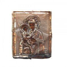 Virgem de Vladimir Vladimirskaia. Revestimento de prata contrastada. Ícone Russo. 7 X 6 cm.