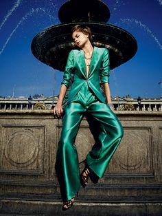 Giorgio #Armani emerald green jacket and pants