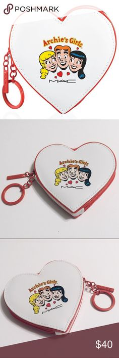 ❤️ Archie heart coin purse ❤️ ● white patent leather heart-shaped coin purse featuring Archie, Betty, and Veronica on both sides of the purse, with red detailing and heart print lining ❣️ ● brand: MAC cosmetics x Archie's Girls ● condition: brand new  tags: riverdale comics comic con hearts valentine valentine's day love cartoon cute retro kawaii bag geek nerd fangirl authentic genuine LE limited edition sold out collectible collection jingle jangle MAC Cosmetics Accessories Key & Card…