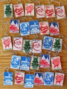 Christmas Postage Stamp Ornaments, can also be used to decorate gifts
