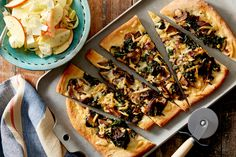 Smoked Gouda & Mushroom Flatbread with Endive & Apple Salad. Visit https://www.blueapron.com/ to receive the ingredients.