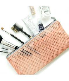 transparent mesh travel cosmetic bag