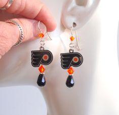 Philadelphia Flyers Orange and Black Crystal Sterling Silver Ear Wire Pro Hockey Dangle Earrings