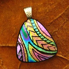 Dichroic Fused Glass Zentangle Pendant Fused Glass  by GlassCat, $32.50