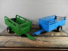 Vintage Nylint Trailer 11 inch Pressed Steel Metal Farm Cattle Utility Pull Behind Wagon Single Axel Green Blue by WesternKyRustic on Etsy