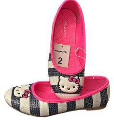f0f644c05 I wish these Hello Kitty Shoes Came in my size LOL - Hello Kitty Girls  Ballet Flat Sequined Navy Blue and White Slip On Shoes 2 M US $39.99