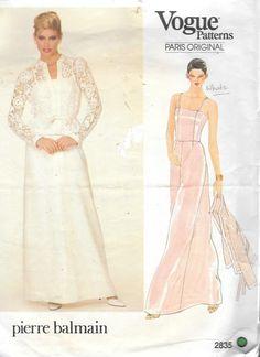 Vtg Vogue 2835 Paris Original Pierre Balmain Evening Formal Dress Jacket Sewing Pattern Size 8 Bust 31 1/2 by SinclairsStuff on Etsy