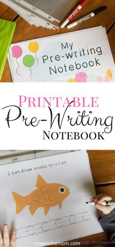 Printable Pre-Writing Notebook for Toddlers and Preschoolers - Inspire the Mom I created this prewriting notebook to allow our son to experience the very basic strokes of handwriting in a fun, no-pressure way. Preschool Literacy, Preschool Learning Activities, Preschool Printables, Preschool Lessons, Preschool Worksheets, Toddler Preschool, Kids Learning, Toddler Activities, Preschool Activities At Home