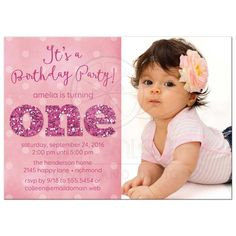 Baby girl first 1st birthday photo invitation pink and purple 1st birthday and christening invitation wording filmwisefo