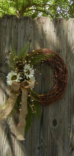 Items similar to Summer Wreath - Sunflower Door Decor - Burlap-Fall Wreath on Etsy Diy Wreath, Grapevine Wreath, Burlap Wreath, Wreath Ideas, Front Door Decor, Wreaths For Front Door, Mesh Wreaths, Holiday Wreaths, Summer Wreath