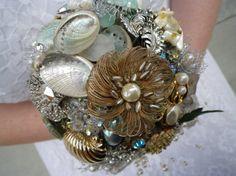 MERMAID part I Beach Ocean Wedding Bridal Brooch Bouquet  by RoBun, $400.00
