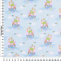 Noah's Ark Blue Cotton Flannel Fabric