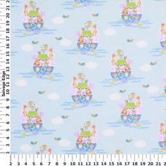 Noah's Ark Blue Cotton Flannel Fabric