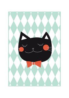 Chat noir  illustration minimaliste d'affiche  BALTHAZAR  par Buul