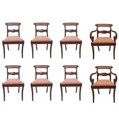 6 Henredon FrenchRegency Style Mahogany Dining Chairs Regency
