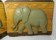 .elephant wall plaque.               t