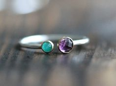 Larger stone Amethyst, with smaller stone Ruby $114, for me and Elisabeth <3  *This is for ONE Recycled Sterling Silver ring w/ two gemstones*    ~ ------------------------------------------------------------ ~    DESCRIPTIONS: