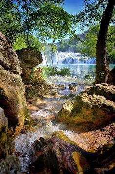 Krka Falls in Slate, Croatia! Beautiful waterfalls after the hike Beautiful Waterfalls, Beautiful Landscapes, Places To Travel, Places To See, Places Around The World, Around The Worlds, Wonderful Places, Beautiful Places, Landscape Photography