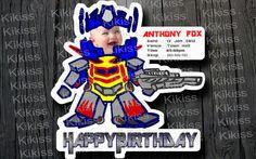 Childish Robot Newborn Baby Shower or Boy Birthday Party Invitation Card - Transformer-style / Optimus Prime / Bumblebee / Blue / Golden