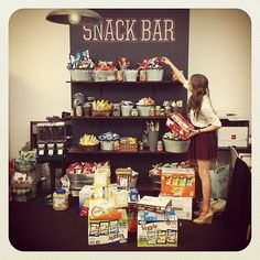 Sometimes the snack bar in the office is the reason you take the job! Snack Bar, Snack Station, Bar Station, Office Snacks, Snacks For Work, Cool Office, The Office, Office Ideas, Office Decor