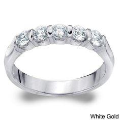Amore 14k White or Yellow Gold 1/2ct TDW Diamond Wedding Band (H-I, I1-I2) (White Gold - 5), Women's