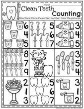 Preschool Worksheets, Preschool Activities, Counting Worksheet, Counting Games, Space Activities, Dental Health Month, Health Activities, Health Lessons, Dental Hygiene