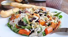 crab and roasted veggie salad..super easy and healthy if you skip the bread sticks!