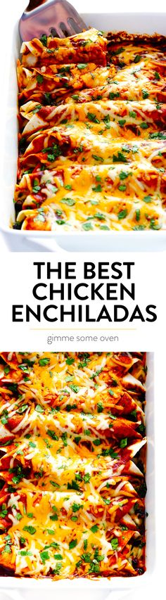 LOVE this easy chicken enchilada recipe! It's made with the most delicious homemade enchilada sauce, chicken, cheese, and whatever other fillings you love most. Always a great Mexican dinner recipe — plus these enchiladas are a great freezer meal too! Enchilada Sauce, Best Chicken Enchilada Recipe, Enchilada Recipes, Chicken Recipes, Recipe Chicken, Homemade Enchiladas, Chicken Enchiladas, Mexican Dinner Recipes, Mexican Dishes